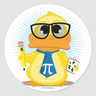 Math Teacher Duck Classic Round Sticker