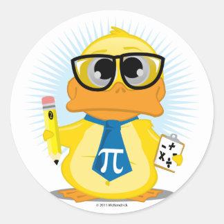Math Teacher Duck Round Sticker