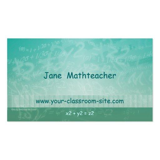 Math Teacher Equations Green Business Card