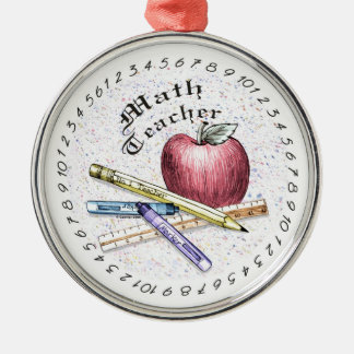 Math Teacher Silver-Colored Round Decoration
