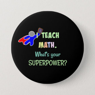 Math Teacher, Superhero 7.5 Cm Round Badge