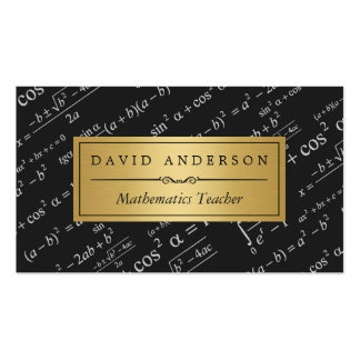 Math Teacher with Stylish Equations Formulas Pack Of Standard Business Cards