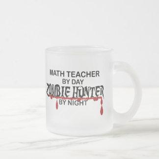 Math Teacher Zombie Hunter Frosted Glass Coffee Mug