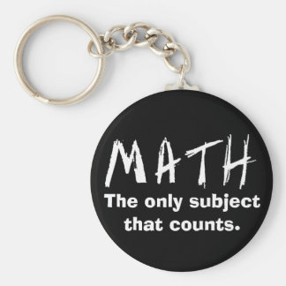 Math The Only Subject That Counts Button Basic Round Button Key Ring
