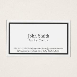 Math Tutor Minimal Black Framed Business Card