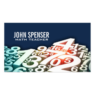 Math Tutor White Number Design Blue Business Card