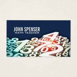 Math Tutor White Number Design Blue Business Card