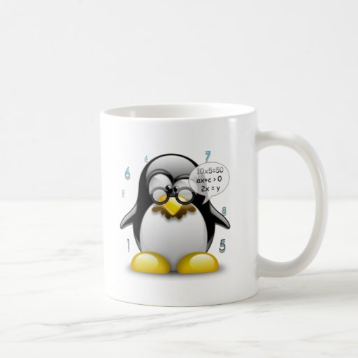 Math Whiz Tux Basic White Mug