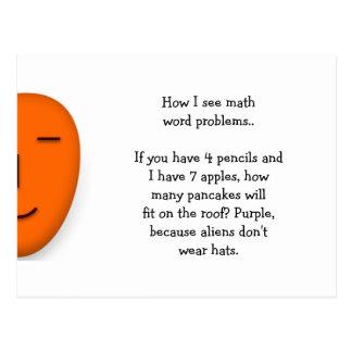 Math Word Problems.. Funny Send a Smile Postcard