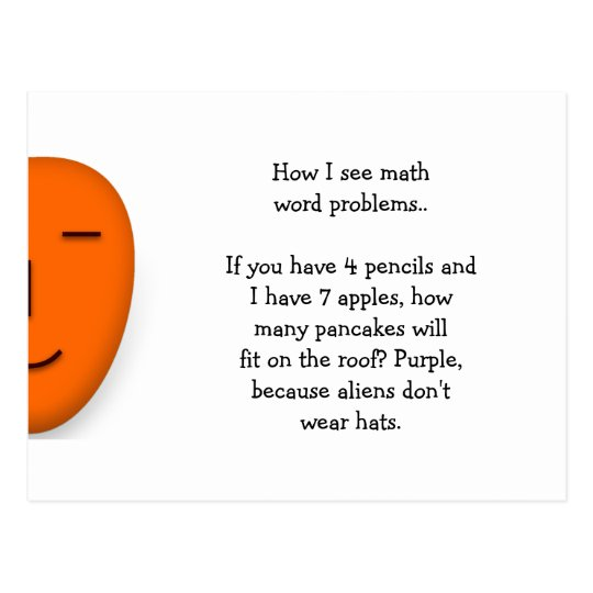 Math Word Problems.. Funny Send a Smile Postcard