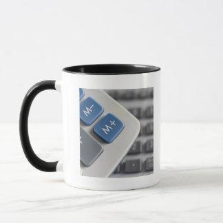 Mathematical symbols on a calculator and a mug