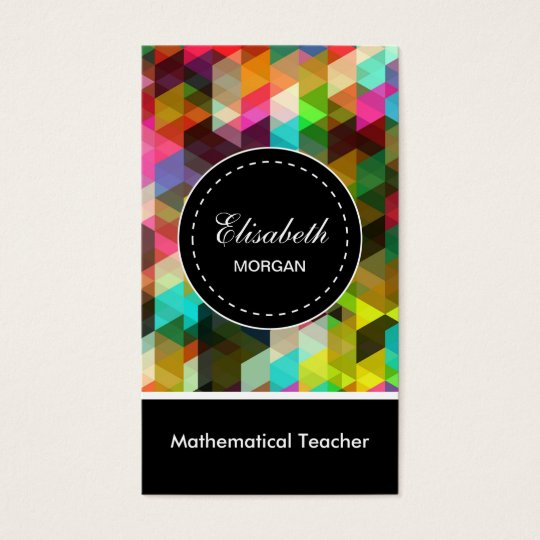 Mathematical Teacher- Colourful Mosaic Pattern Business Card