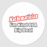 Mathematician...Big Deal Round Stickers