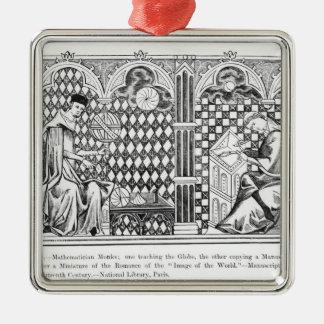 Mathematician Monks: one teaching the Globe Christmas Ornament