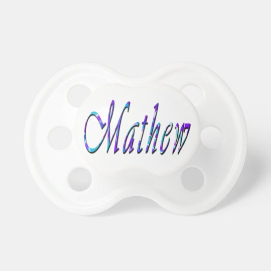 Mathew, Name, Logo, Baby Boys Pacifier