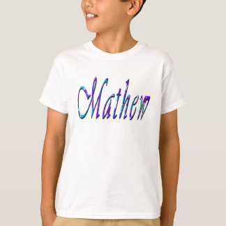 Mathew, Name, Logo, Boys White T-shirt