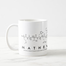 Mug featuring the name Mathew spelled out in the single letter amino acid code