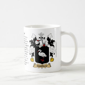 Mathew, the Origin, the Meaning and the Crest Mug