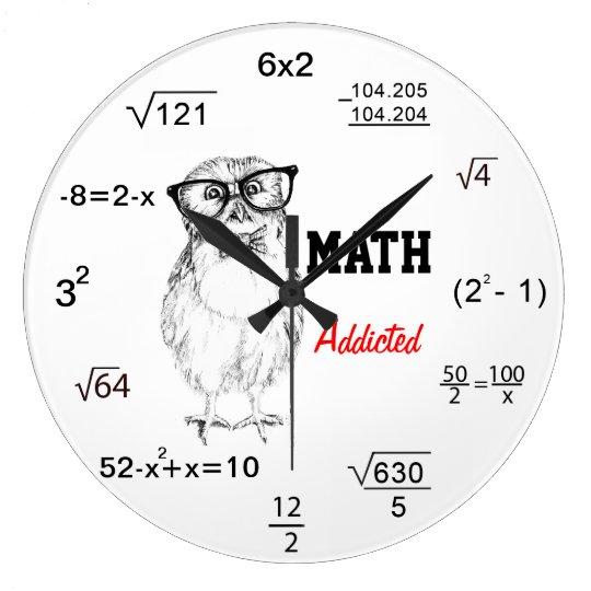 Maths addicted nerdy owl large clock
