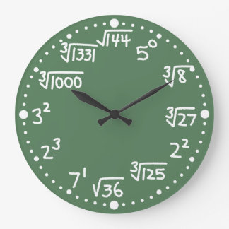 Maths Exponents Square and Cube Roots Wall Clock