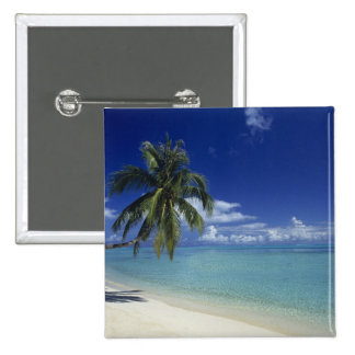 Matira Beach on the island of Bora Bora, 15 Cm Square Badge