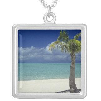 Matira Beach on the island of Bora Bora, 2 Square Pendant Necklace