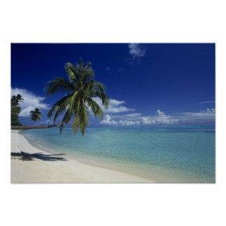 Matira Beach on the island of Bora Bora, Poster