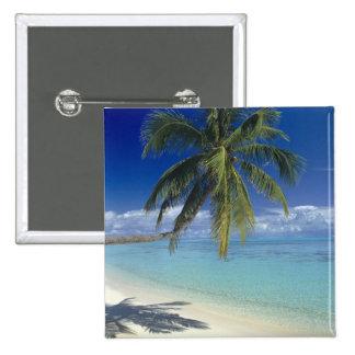 Matira Beach on the island of Bora Bora, Society 15 Cm Square Badge
