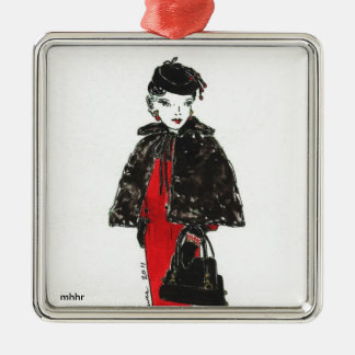 Matisse Fashion Watercolor - Black Fur Cape Silver-Colored Square Decoration