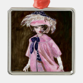 Matisse Fashion Watercolor Painting, Mauvy Silver-Colored Square Decoration