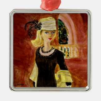 Matisse Fashion Watercolor Painting  Midnight Hour Silver-Colored Square Decoration