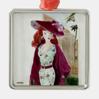 Matisse Fashion Watercolor Painting - Rose Silver-Colored Square Decoration
