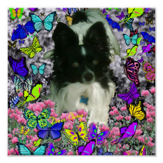 Matisse in Butterflies II - White Black Papillon Poster