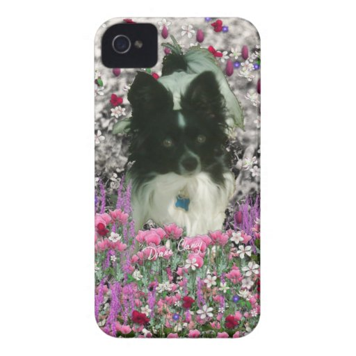 Matisse in Flowers - White & Black Papillon Dog iPhone 4 Case