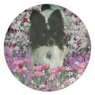 Matisse in Flowers - White & Black Papillon Dog Dinner Plate