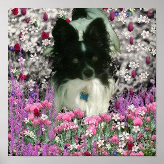 Matisse in Flowers - White & Black Papillon Dog Print