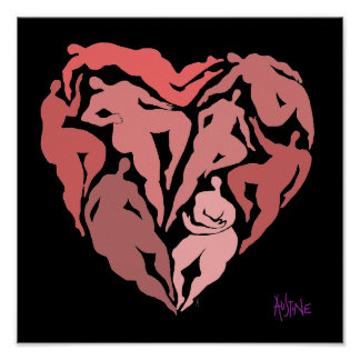 Matisse inspired figures in heart shape poster