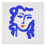 Matisse Style Blue Face Girl Poster