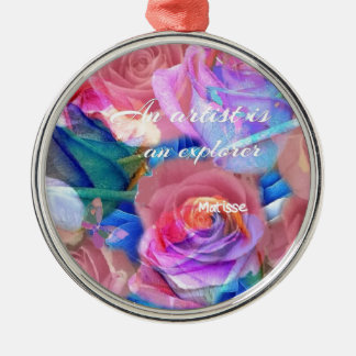 Matisse's quote in pink flowers christmas ornament
