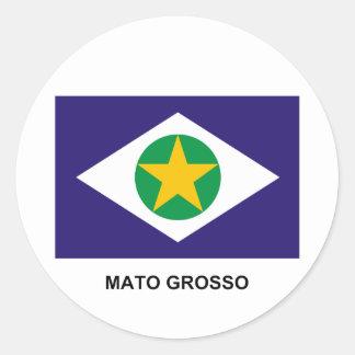 Mato Grosso, Brazil Flag Round Sticker