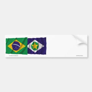 Mato Grosso & Brazil Waving Flags Bumper Sticker