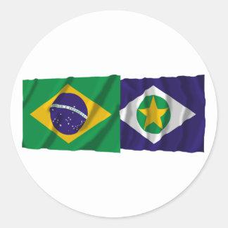 Mato Grosso & Brazil Waving Flags Round Stickers