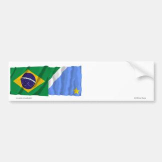 Mato Grosso do Sul & Brazil Waving Flags Bumper Sticker