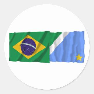 Mato Grosso do Sul & Brazil Waving Flags Round Sticker