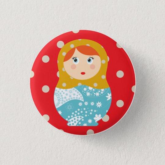 matriochka swipes in red 3 cm round badge