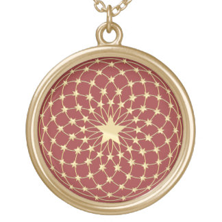 Matrix of golden stars expanding circles round pendant necklace