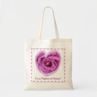Matron of Honor Bag - PINK Rose Heart with Lace