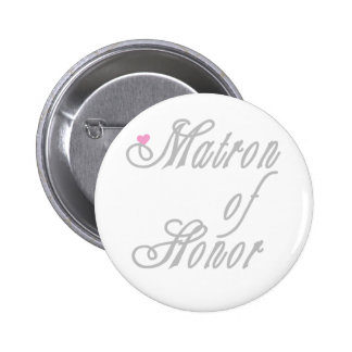 Matron of Honor Classy Grays 6 Cm Round Badge