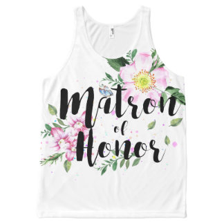Matron of honor Floral Watercolor Wedding All-Over Print Tank Top