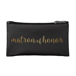 matron of honor golden Makeup Bag